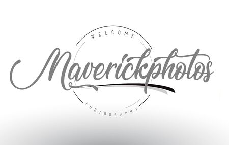 Maverick Personal Photography Logo Design with Photographer Name and Handwritten Letter Design.