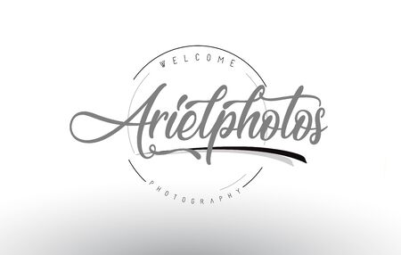 Ariel Personal Photography Logo Design with Photographer Name and Handwritten Letter Design.