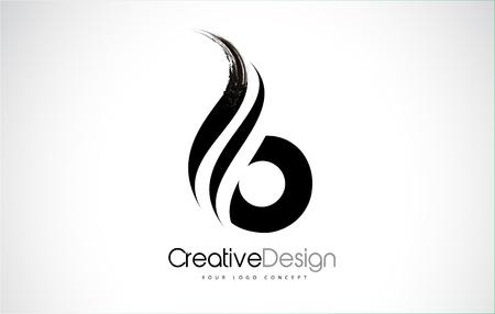 B letter design brush paint stroke. Letter logo with black paintbrush stroke. Logo