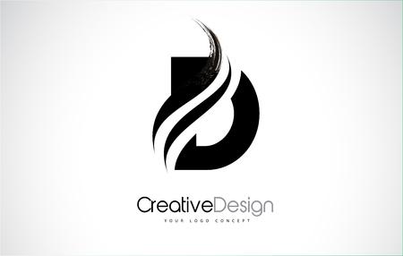 Curso de pintura de pincel de design de letra D. Logotipo da carta com pincelada preto.