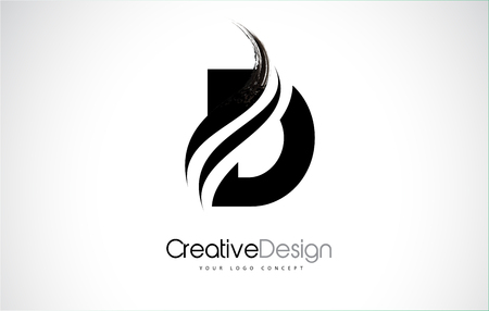 D letter design brush paint stroke. Letter logo with black paintbrush stroke. Stock Illustratie