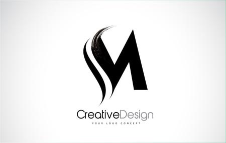 M letter design brush paint stroke. Letter logo with black paintbrush stroke. Vettoriali
