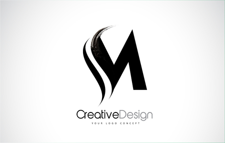 M letter design brush paint stroke. Letter logo with black paintbrush stroke. Vectores