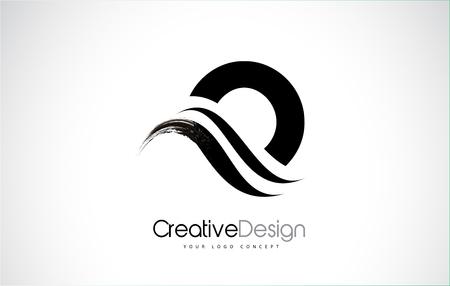 O letter design brush paint stroke. Letter logo with black paintbrush stroke.