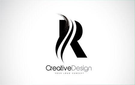 Letter R design brush paint stroke. Letter icon with black paintbrush stroke.