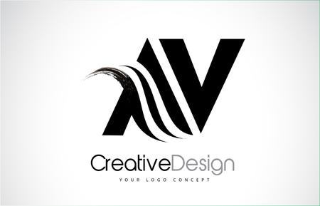 AV A V creative modern black letters icon design with brush swoosh. Stok Fotoğraf - 93893678