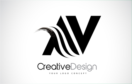 AV AV creatief modern zwart letters pictogram ontwerp met penseel swoosh. Stockfoto - 93893678