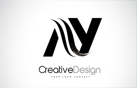 AY A Y creative modern black letters icon design with brush swoosh.