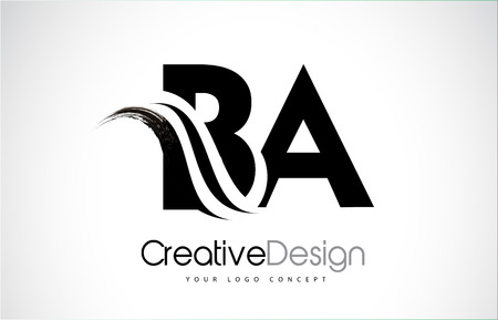 BA creative modern black letters logo design with brush swoosh
