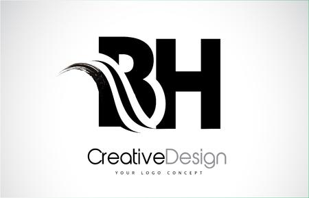 BH creative modern black letters logo design with brush swoosh