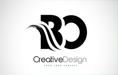 BO creative modern black letters logo design with brush swoosh