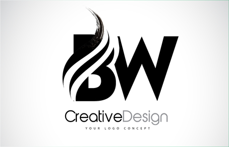 BW creative modern black letters design with brush swoosh.