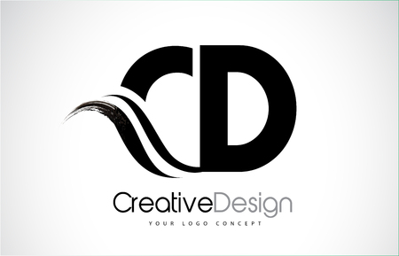 CD creative modern black letters logo design with brush swoosh