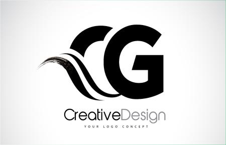 CG creative modern black letters logo design with brush swoosh Illustration