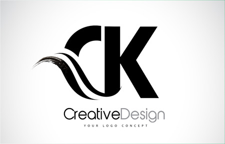 CK C K creative modern black letters icon design with brush swoosh.