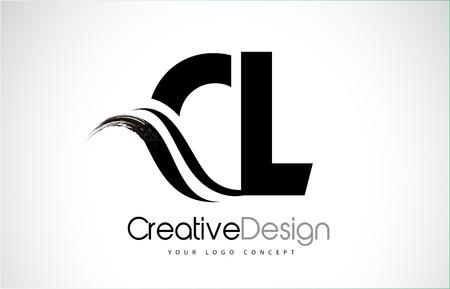 CL creative modern black letters logo design with brush swoosh
