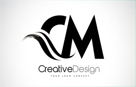 CM creative modern black letters logo design with brush swoosh