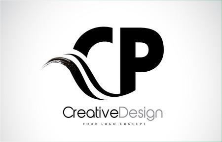 CP creative modern black letters logo design with brush swoosh Illustration