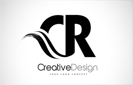CR creative modern black letters logo design with brush swoosh Logó