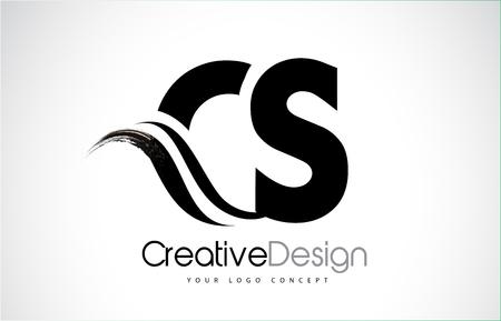 CS creative modern black letters logo design with brush swoosh Logó