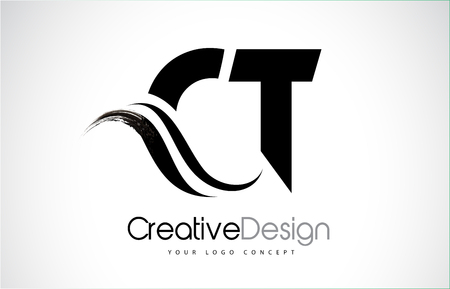 CT Creative Modern Black Letters Logo Design with Brush Swoosh