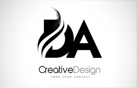 DA DA créatif icône design lettres noires modernes avec un pinceau swoosh. Banque d'images - 93893800
