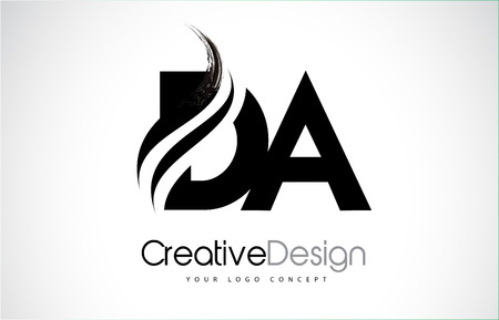 DA D A creative modern black letters icon design with brush swoosh. Illustration