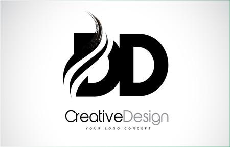 DD Creative lettere nere moderne Logo Design con pennello Swoosh Logo