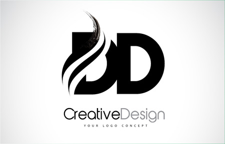 DD Creative Modern Black Letters Logo Design with Brush Swoosh Çizim