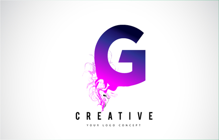 G Purple Letter Logo Design with Creative Liquid Effect Flowing Vector Illustration.