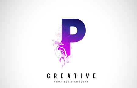 P Purple Letter Logo Design with Creative Liquid Effect Flowing Vector Illustration.