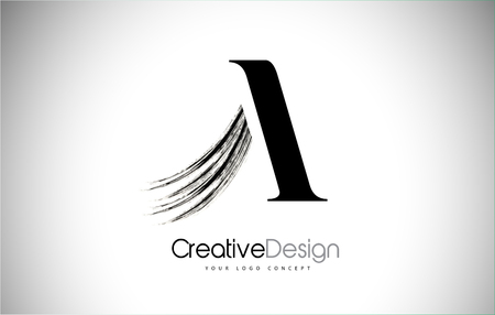 A Brush Stroke Letter Logo Design. Black Paint Logo Leters Icon with Elegant Circle Vector Design. Stock Illustratie