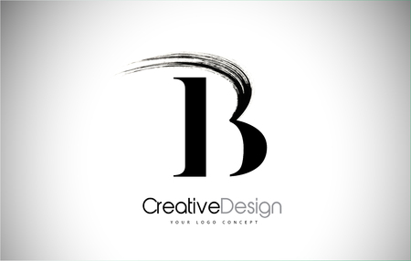 B Brush Stroke Letter Logo Design. Black Paint Logo Leters Icon with Elegant Circle Vector Design. Stock Illustratie