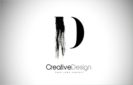 D Brush Stroke Letter Logo Design. Black Paint Logo Leters Icon with Elegant Circle Vector Design.