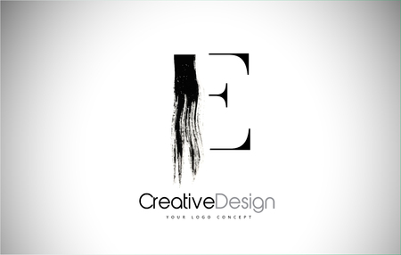 E Brush Stroke Letter Logo Design. Black Paint Logo Leters Icon with Elegant Circle Vector Design. Stock Illustratie