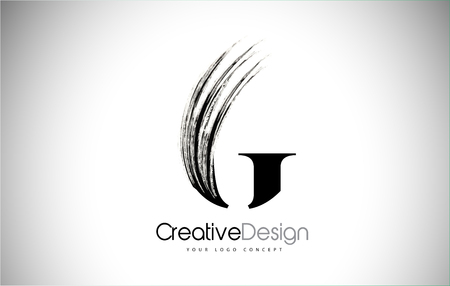 G Brush Stroke Letter Logo Design. Black Paint Logo Leters Icon with Elegant Circle Vector Design.
