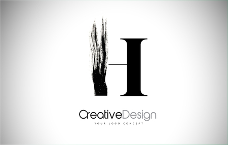 H Brush Stroke Letter Logo Design. Black Paint Logo Leters Icon with Elegant Circle Vector Design.