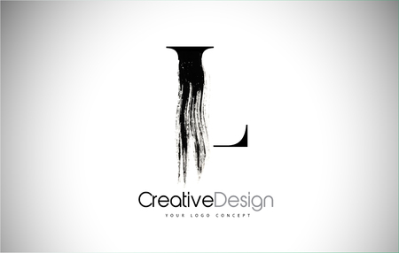 L Brush Stroke Letter Logo Design. Black Paint Logo Leters Icon with Elegant Circle Vector Design.