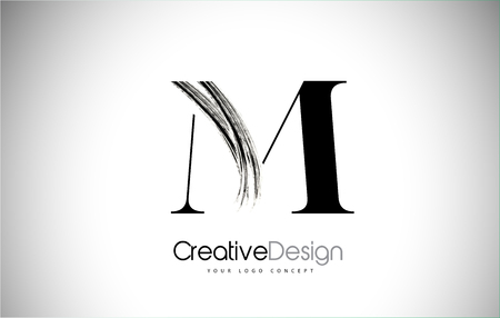 M Brush Stroke Letter Logo Design. Black Paint Logo Leters Icon with Elegant Circle Vector Design.