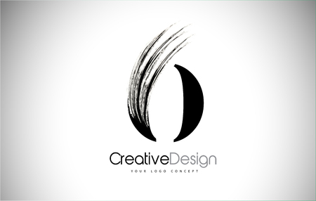 O Brush Stroke Letter Logo Design. Black Paint Logo Leters Icon with Elegant Circle Vector Design. Stock Illustratie