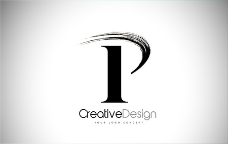 P Brush Stroke Letter Logo Design. Black Paint Logo Leters Icon with Elegant Circle Vector Design.
