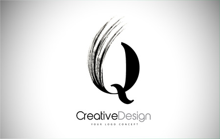 Q Brush Stroke Letter Logo Design. Black Paint Logo Leters Icon with Elegant Circle Vector Design.