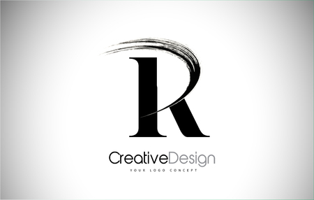 R Brush Stroke Letter Logo Design. Black Paint Logo Leters Icon with Elegant Circle Vector Design.