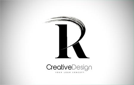 R Brush Stroke Letter Logo Design. Black Paint Logo Leters Icon with Elegant Circle Vector Design.