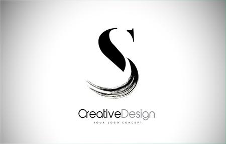 S Brush Stroke Letter Logo Design. Black Paint Logo Leters Icon with Elegant Circle Vector Design.  イラスト・ベクター素材