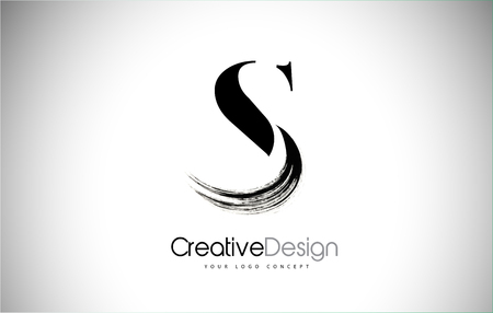 S Brush Stroke Letter Logo Design. Black Paint Logo Leters Icon with Elegant Circle Vector Design. Vectores