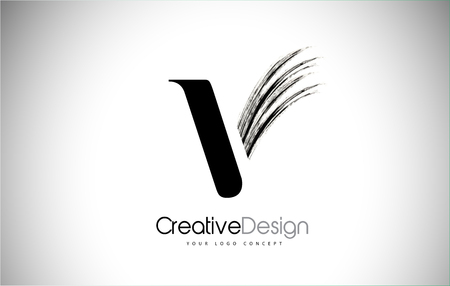 V Brush Stroke Letter Logo Design. Black Paint Logo Leters Icon with Elegant Circle Vector Design. Stock Illustratie
