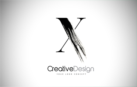 X Brush Stroke Letter Logo Design. Black Paint Logo Leters Icon with Elegant Circle Vector Design. Stock Illustratie