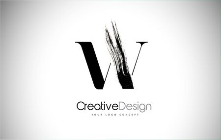 W Brush Stroke Letter Logo Design. Black Paint Logo Leters Icon with Elegant Circle Vector Design.