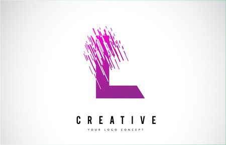 L Letter icon Design with Purple Colors and Shattered Creative Particle Lines.